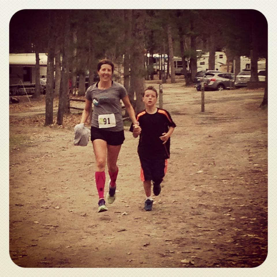 Alex and me, about to cross the finish line together at the 2015 Run the Ridge Team Relay. (We were on different teams, but ran the same leg together)