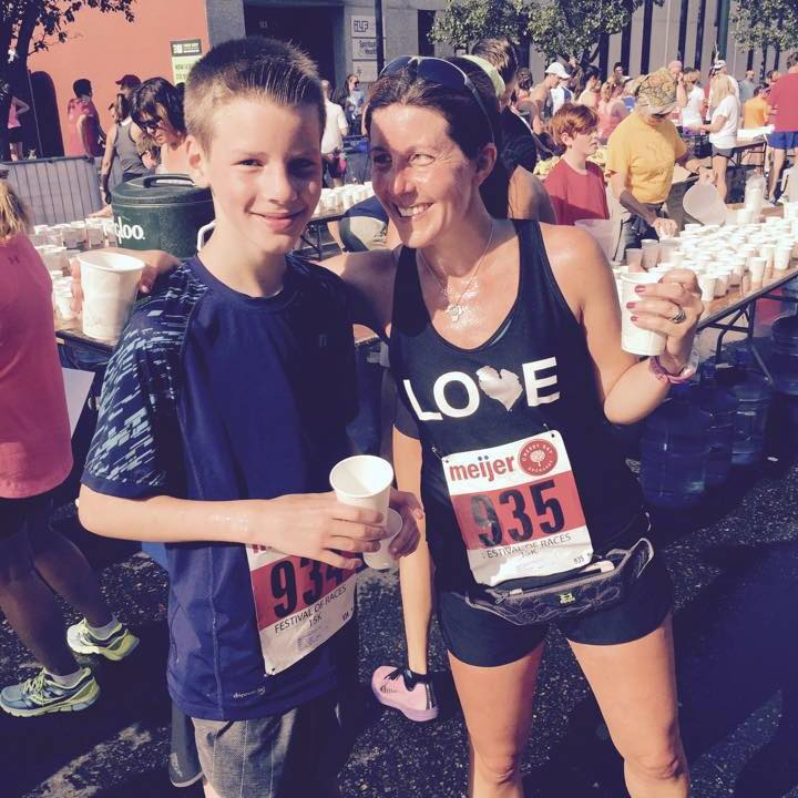 Andrew and me at the finish of last summer's Cherry Festival 15K.