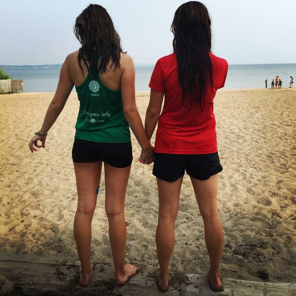 Emma and me, summer 2015. It was a hot day and we both jumped into West Bay after our morning run.