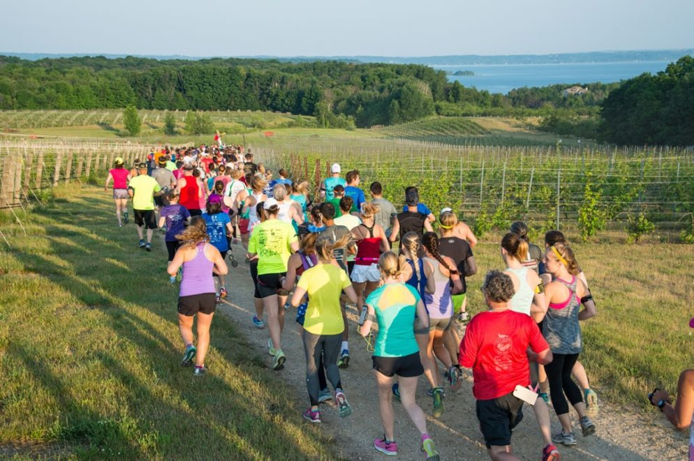The Festival of Races, part of the National Cherry Festival in Traverse City July 2-9, features a half marathon, 15K, 10K and 5K. The half marathon (shown above) starts at Chateau Grand Traverse on Old Mission Peninsula.
