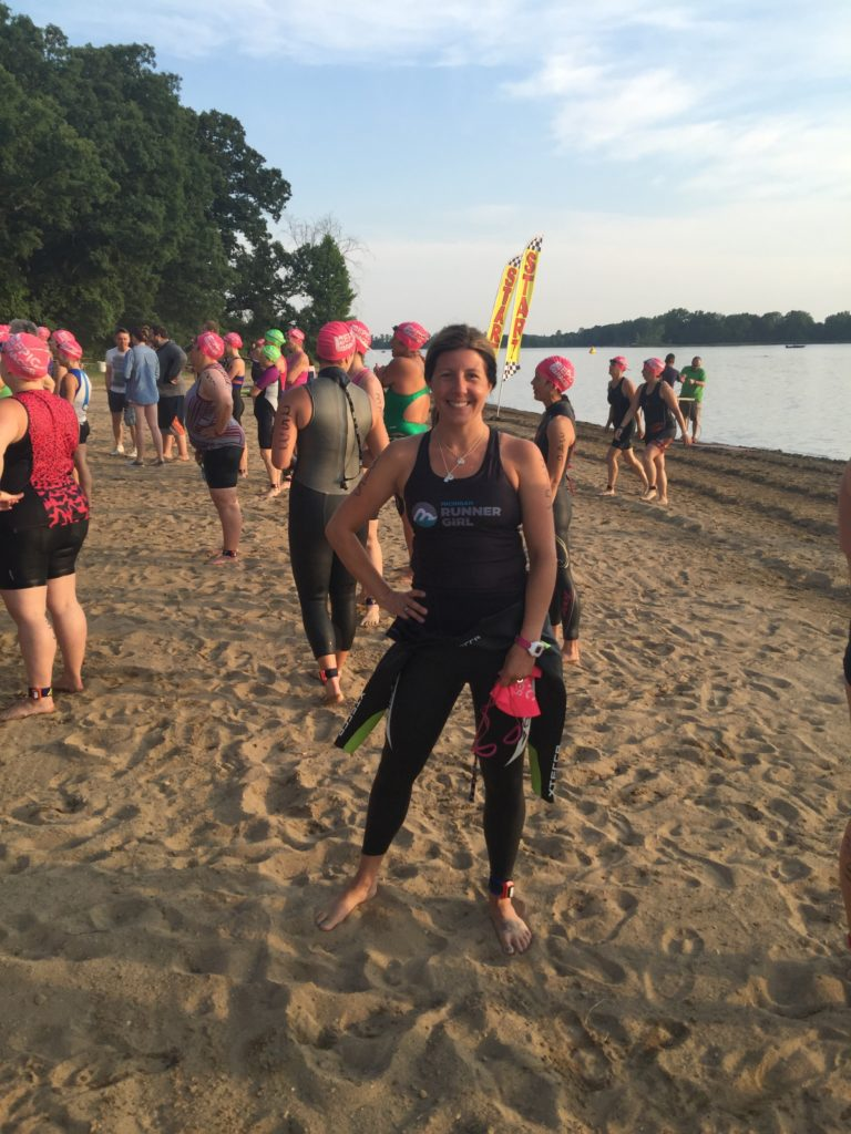 On the shores of Big Portage Lake, just before the start of this year's Tri Goddess Tri near Ann Arbor. Nervous, excited and scared would best describe my state of mind at this point of race morning.