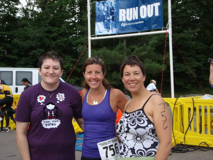 Me (in the middle) with Megan (left) and Cari at the Traverse City Triathlon. We completed the race as a relay team, with me, you guessed it, doing the run portion.