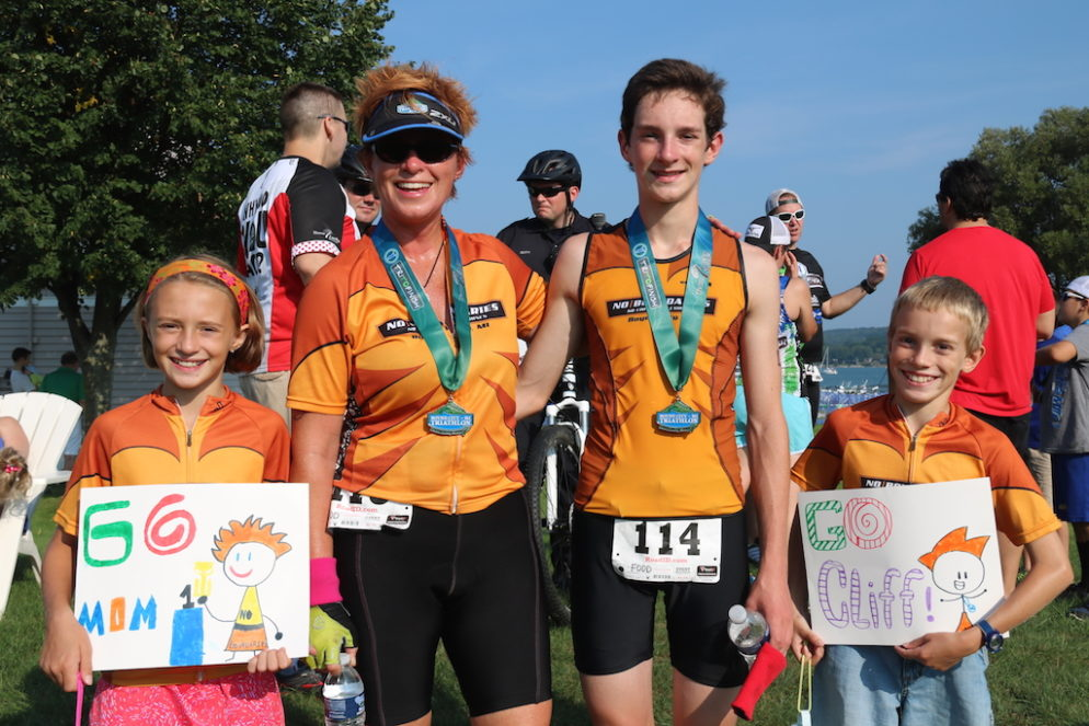 Lisa Maginity and her three children at the 2015 Boyne City Triathlon. She and her older son Clifton completed the duathlon. They'll be at this year's event, set for Sunday, Sept. 4, 2016.