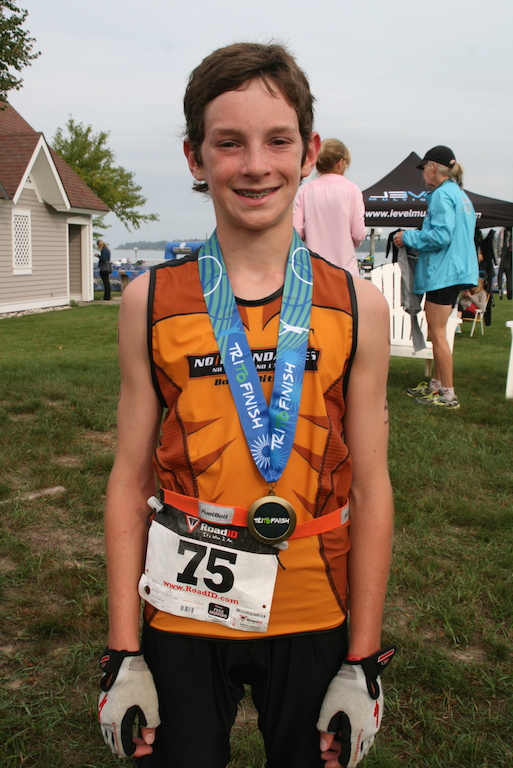 Clifton, 14, at the 2015 Boyne City Triathlon.