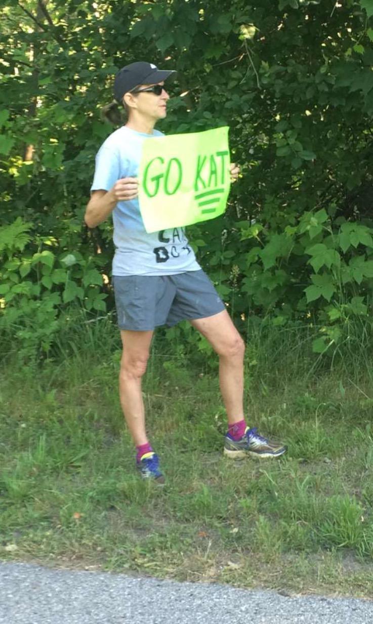 Katherine's dad along the Charlevoix Marathon course. /Photo courtesy the Lacksen Family.