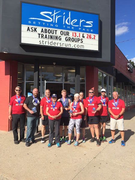 A group of Team RWB medal winners for age groups and team races during this years Fifth Third River Bank Run. Striders has supported Team RWB by sponsoring Tuesday and Thursday group runs.