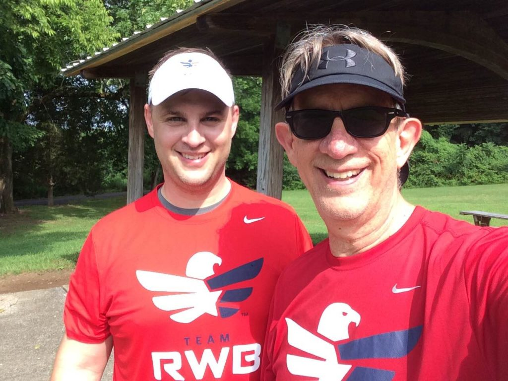 Jeff Roley (right) with his son, Lt Colonel Paul Roley US Army, after running 12 miles early in the morning last month in Franklin, TN.