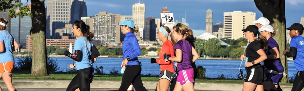 Detroit's skyline is among the sights runners experience during their run on Belle Isle.