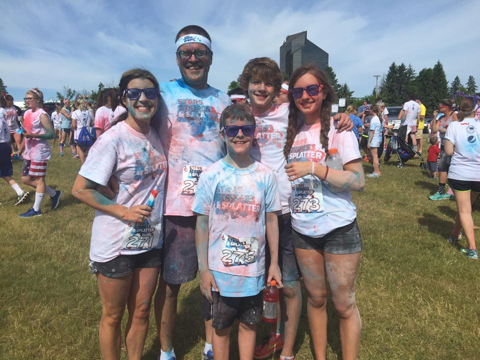 Celebrating the Fourth at the Stars, Stripes & Splatter 5K at the Grand Traverse Resort and Spa this past summer.