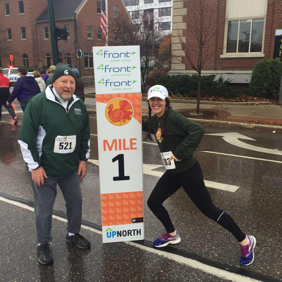 Heather and her dad at the 2015 Traverse City Turkey Trot.