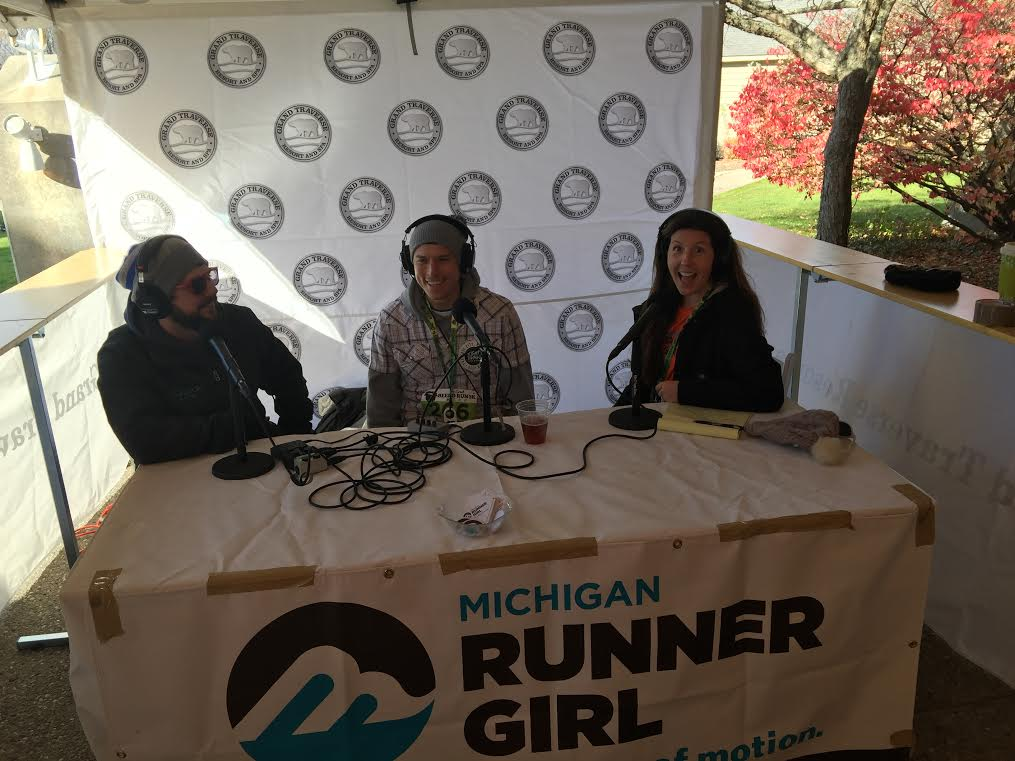 Mike Moran, Jeff Houser and Heather Durocher, recording at the race.