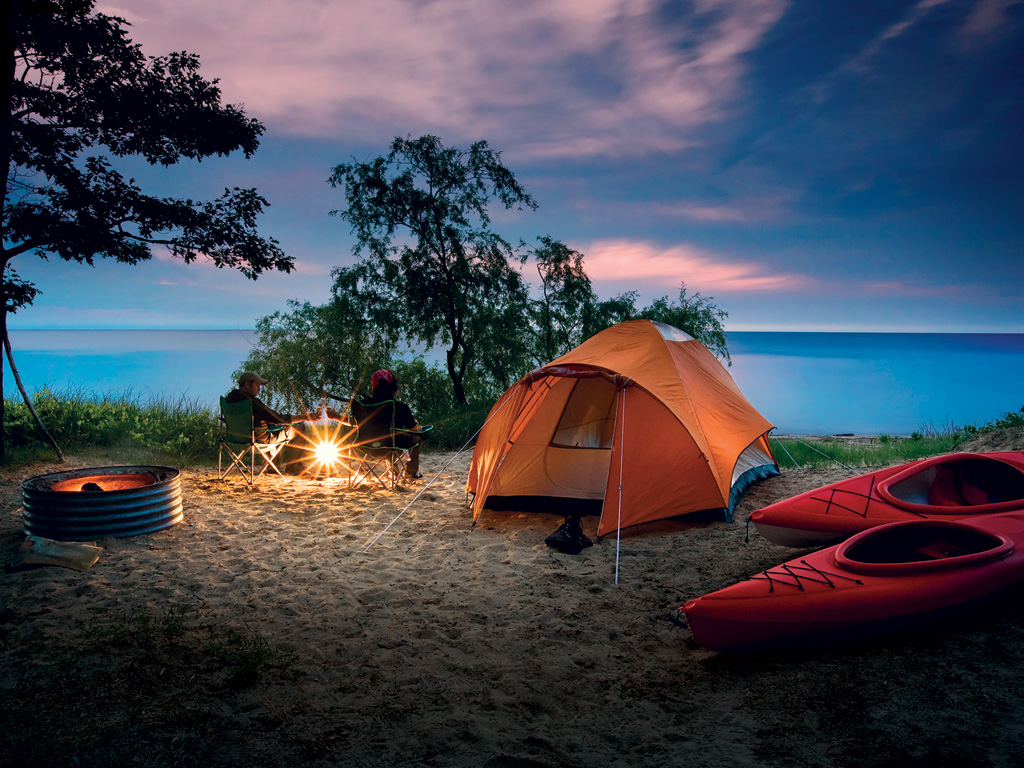 Tent camping along the Great Lakes shoreline.