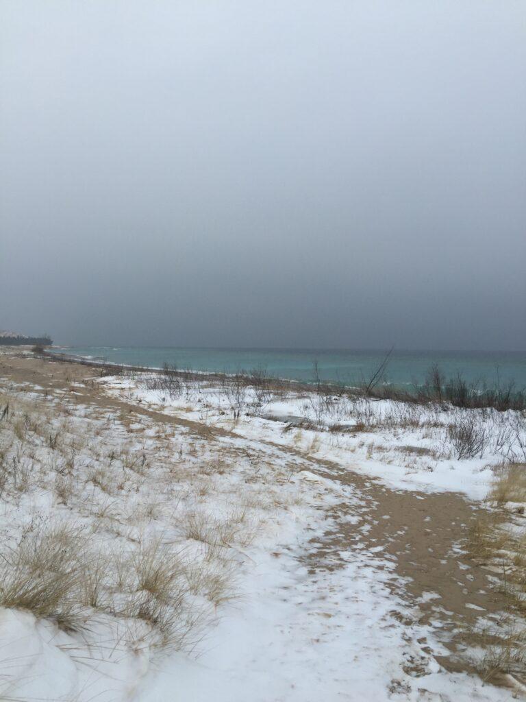 Glen Haven Beach in winter, Lake Michigan